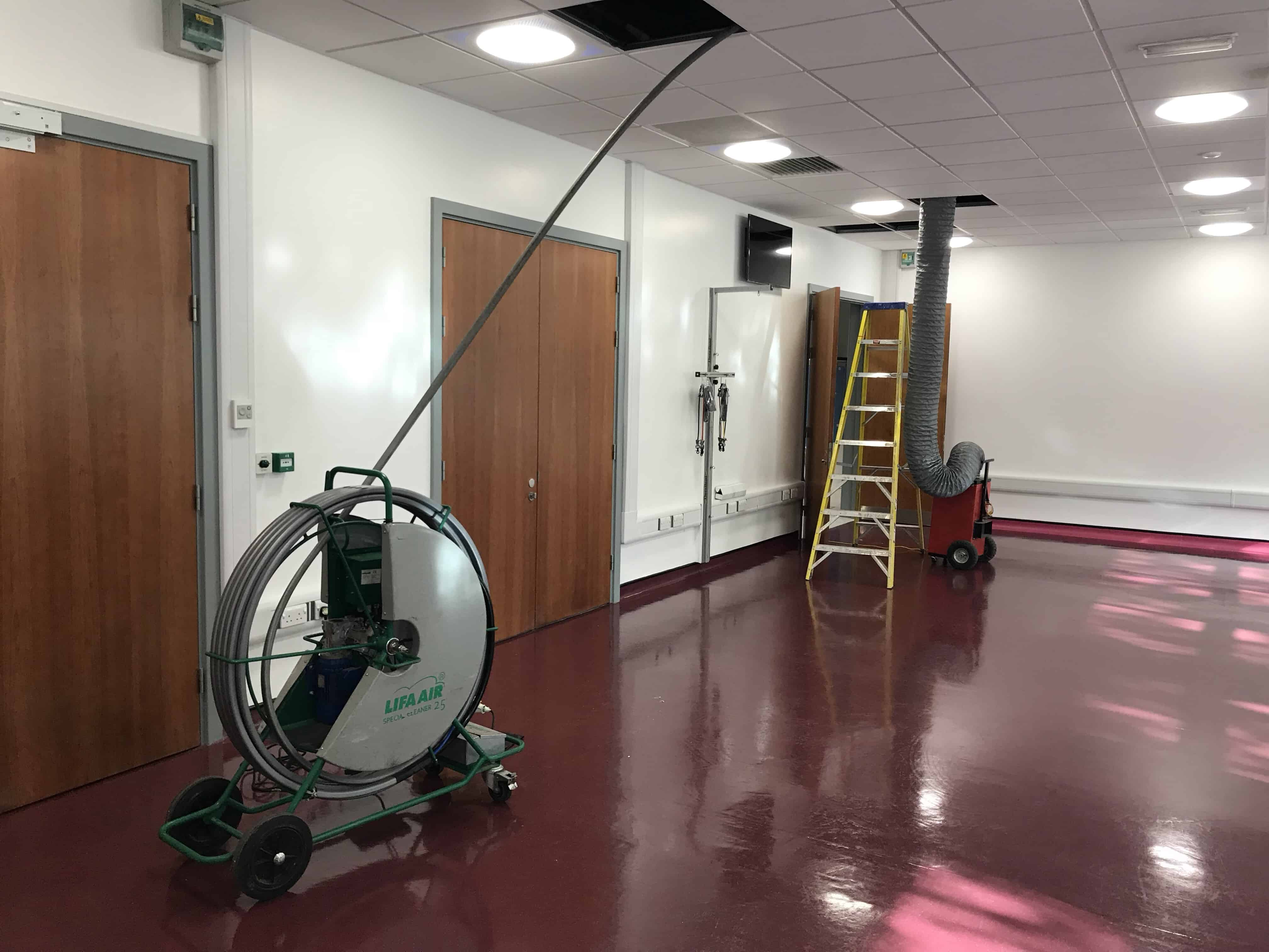 University of Birmingham duct clean in progress